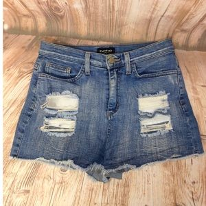 Bebe Hi-Rise Destroyed Denim Shorts